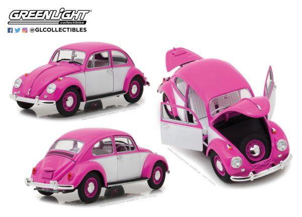 Volkswagen Beetle 1967 Roze / Wit 1-18 Greenlight Collectibles