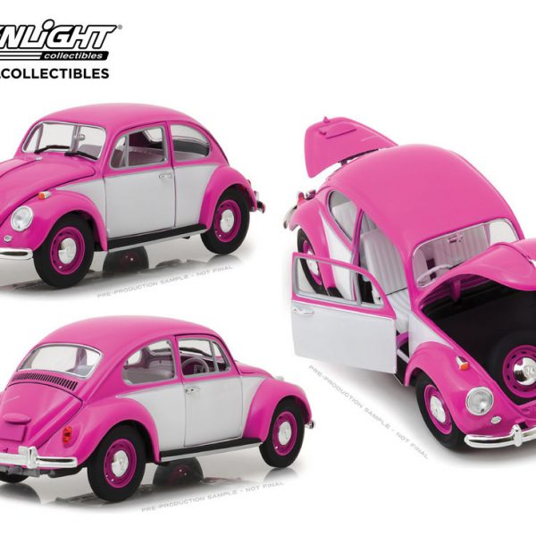 Volkswagen Beetle 1967 Roze / Wit 1-18 Greenlight Collectibles