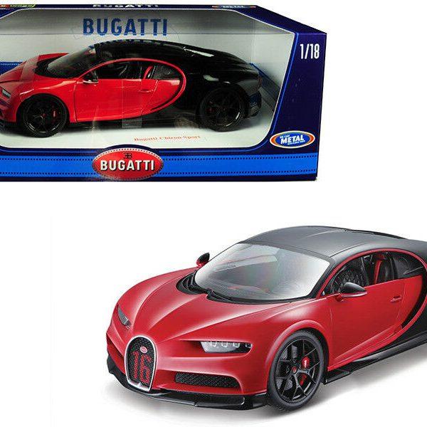 """Bugatti Chiron Sport """"16"""" Rood & Zwart 1/18 Burago"""