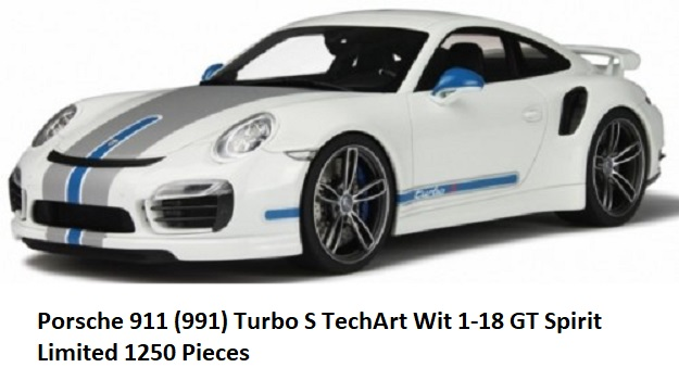 Porsche 911 ( 991 ) Turbo S Techart Wit 1-18 GT Spirit Limited 1250 Pieces