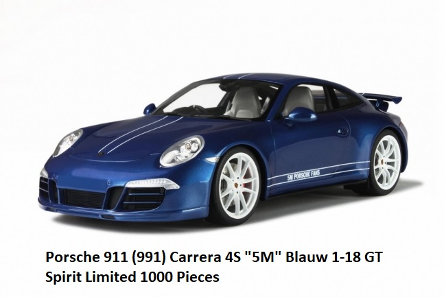 "Porsche 911 Carrera 4S ( 991 ) ""5M"" Blauw 1-18 GT Spirit Limited 1000 Pieces"