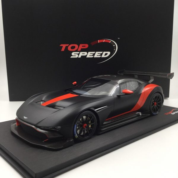 Aston Martin Vulcan Matzwart / Rode Streep 1-18 Top Speed