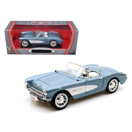 Chevrolet Corvette 1957 Blauw / Wit 1-18 Lucky Diecast