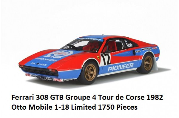 Ferrari 308 GTB Groupe 4 Tour de Corse 1982 Rood / Blauw 1-18 Ottomobile Limited 1750 Pieces