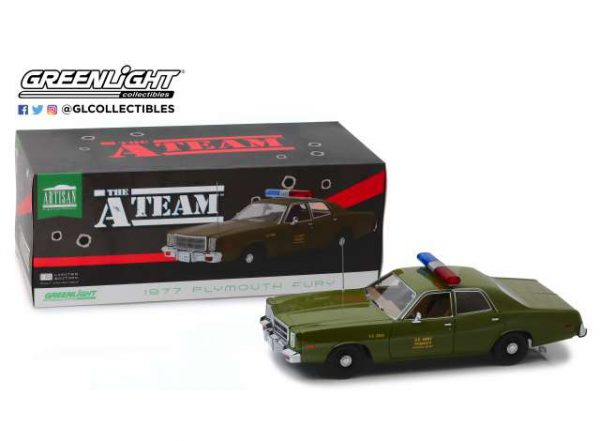 Plymouth Fury 1977 ( TV-Serie de A-Team (1983-1987) ) U.S. Army Police 1-18 Greenlight Collectibles