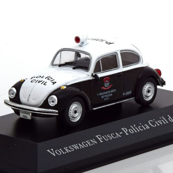 Volkswagen Kever Fusca Policia Civil de Sao Paulo Zwart / Wit 1-43 Altaya