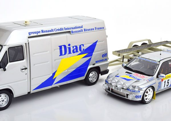 "Rally Set Met 3 Modellen Renault Traffic, Clio Williams, Trailer Rally Monte Carlo 1995 ""Diac "" Bugalski/Renaud 1-18 Ottomobile Limited 2500 Pieces"