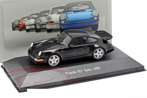 Porsche 911 (964) Turbo 1990 Zwart 1:43 Atlas Porsche Collection