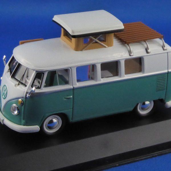 Volkswagen Bus T1 Westfalia SO42 Camper, 1966 Wit / Turquiose 1-43 Ixo Models