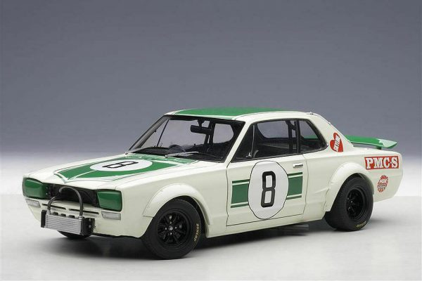 Nissan Skyline GT-R (KPGC10) 2nd Place Japan GP1971 Hasemi #8 Wit / Groen 1-18 Autoart