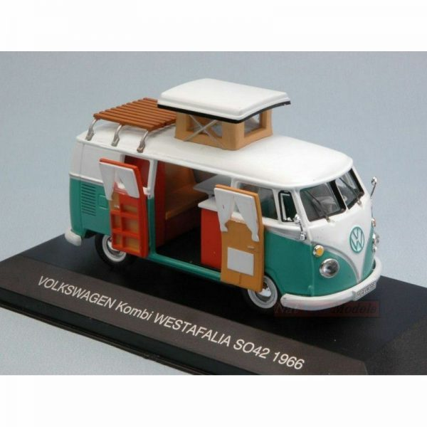 Volkswagen Bus T1 Westfalia SO42 Camper, 1966 Wit / Turquiose 1-43 Ixo Models