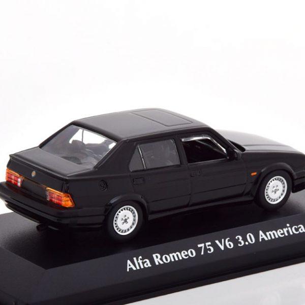 lfa Romeo 75 V6 3.0 America 1987 Zwart 1-43 Maxichamps