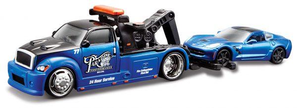 Wrecker Transport / Chevrolet Corvette C7 Stingray 2014 Blauw 1-64 Maisto