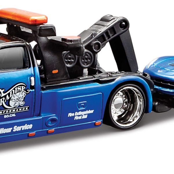 Wrecker Transport / Chevrolet Corvette C7 Stingray 2014 Blauw 1-64 Maisto