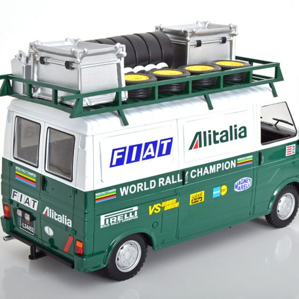 Fiat 242 Fiat Alitalia Rally Team ( Assistance )with Trailer 1-18 Groen Ixo Models