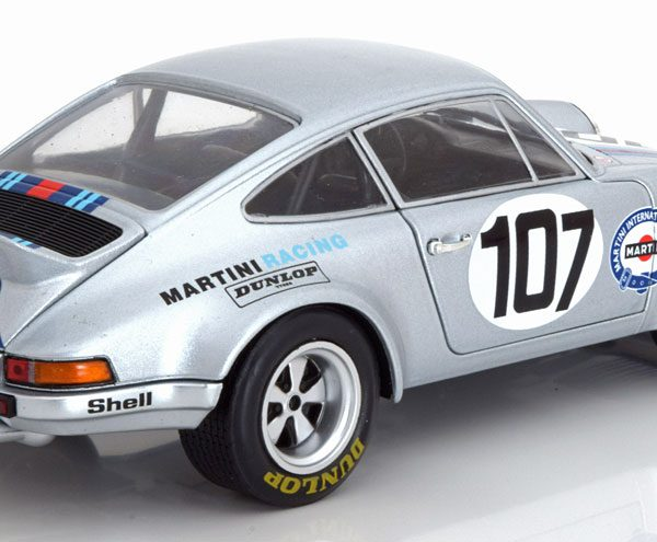 Porsche 911 RSR No.107, Targa Florio 1973 Zilver Steckkönig/Pucci 1-18 Solido