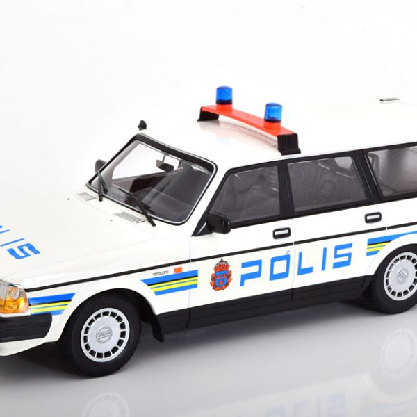 Volvo 240 GL 1986 Break Polis Zweden Wit / Blauw / Geel 1-18 Minichamps Limited 300 Pieces