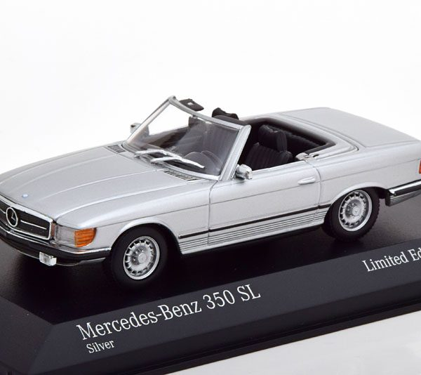 Mercedes-Benz 350 SL ( R107 ) Roadster 1974 Zilver 1-43 Minichamps Limited 500 Pieces