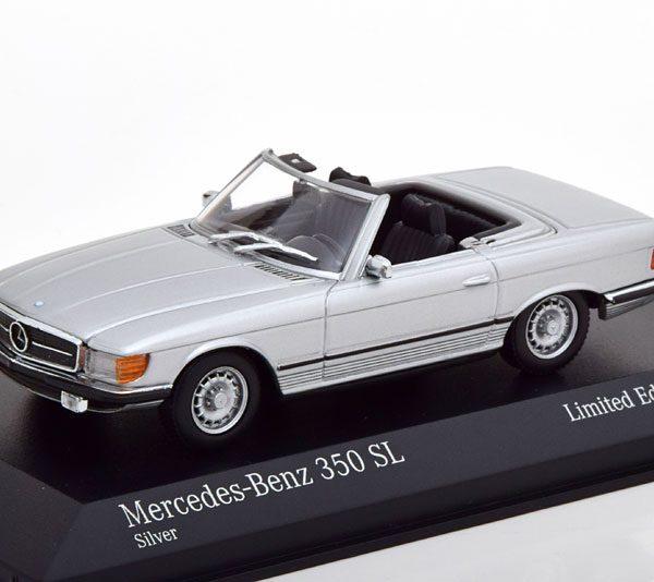 Mercedes-Benz 350 SL ( R107 ) Roadster 1974 Zilver 1-43 Minichamps Limited 500 Pieces