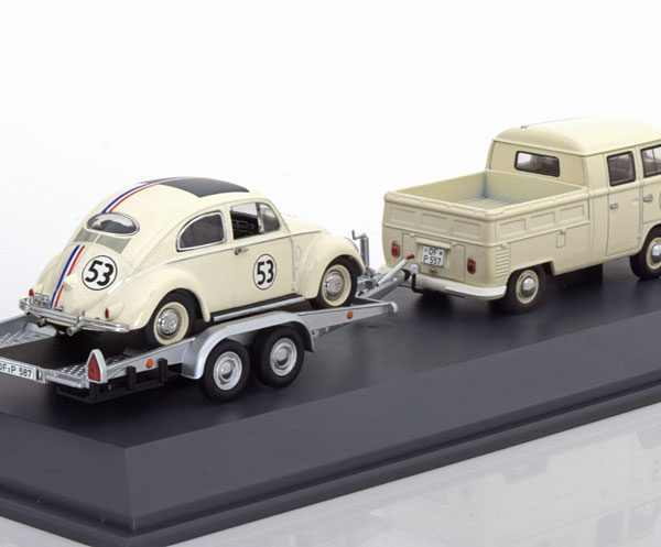 Volkswagen Bus T1 en Kever $# 53 Race Set met aanhanger 1-43 Schuco Limited 750 Pieces
