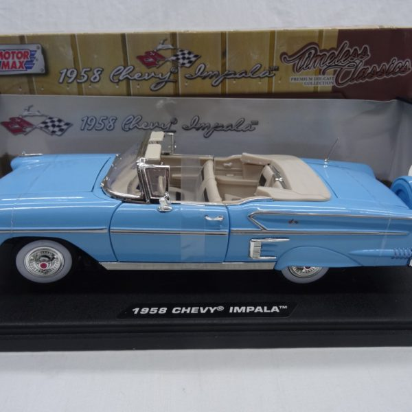 Chevrolet Impala 19558 Roadster Blauw 1-18 Motormax