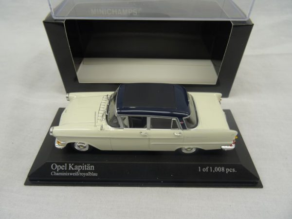 Opel Kapitan 1959 Wit/Blauw 1-43 Minichamps Limited 1008 pcs.