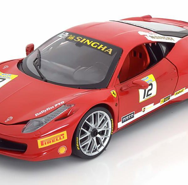 Ferrari 458 Challenge #12 Rood 1-18 Hotwheels