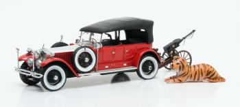 "Rolls-Royce Phantom Barker Torpedo Tourer HRH Maharaja of Kota #23RC met Kanon "" Tiger Edition "" 1925 Rood/Zilver 1-43 Matrix Scale Models Limited 408 pcs."