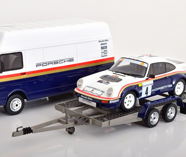 "Rally Set met 3 Modellen Porsche 911 SCRS, Volkswagen LT35, Trailer Toivonen/Grindrod ""Rothmans en met Decals"" Winner Rally des 1000 Pistes"" 1-18 Ottomobile Limited 3000 Pieces"