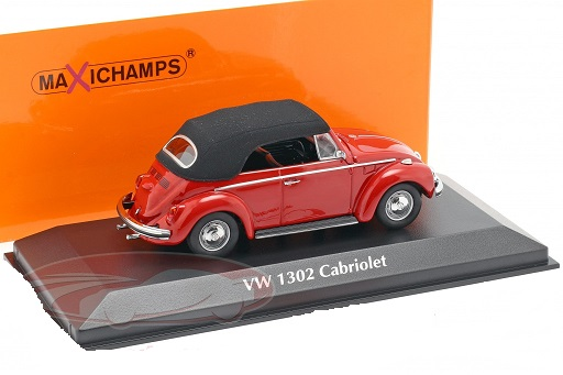 Volkswagen Kever 1302 Cabriolet 1970 Rood 1-43 Maxichamps