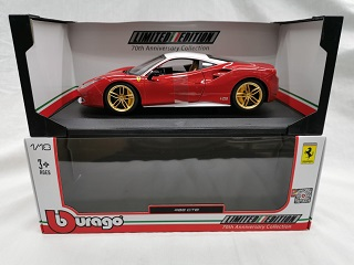 "Ferrari 488 GTB ""70th Anniversary"" Rood / Wit Dak / Goude Velgen 1-18 Burago 70th Anniversary Collection Limited Edition"