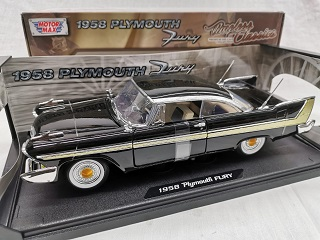 Plymouth Fury Coupe 1958 Zwart 1-18 Motormax