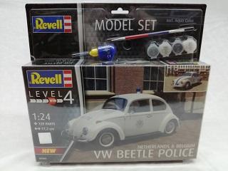 Volkswagen Beetle Police Netherlands & Belgium Level 4 129 Parts 17,2 cm Revell Bouwpakket inclusief 4 kleuren verf & kwast
