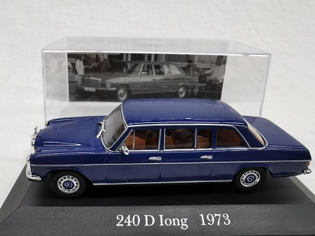 Mercedes-Benz 240 D Long 1973 Blauw 1-43 Altaya Mercedes Collection