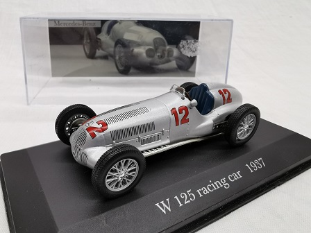 Mercedes-Benz W 125 Racing Car Nr# 12 1937 Zilver 1-43 Altaya Mercedes Collection