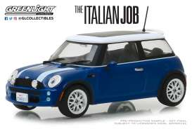 "Mini Cooper S ""The Italian Job 2003"", blue with white stripes 1-43 Greenlight Collectibles"