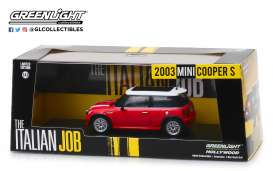 "Mini Cooper S ""The Italian Job 2003"", Red with white stripes 1-43 Greenlight Collectibles"