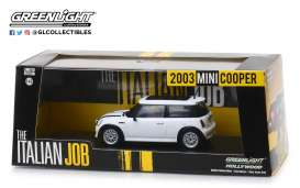 "Mini Cooper S ""The Italian Job 2003"", White with Black stripes 1-43 Greenlight Collectibles"