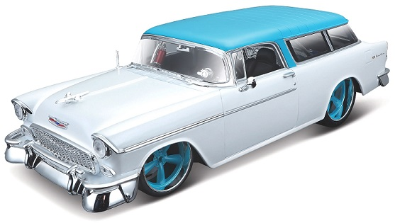 Chevrolet Nomad 1955 1-18 Wit/Blauw Maisto