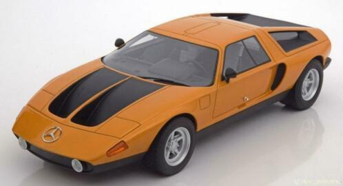 Mercedes-Benz C111/II Concept Car 1970 Oranje Metallic / Zwart 1-18 BOS Models Limited 1000 Pieces