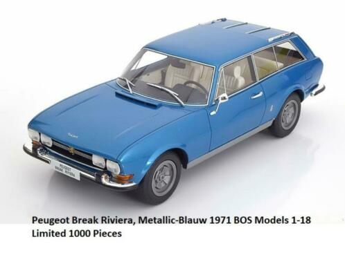 Peugeot 504 Break Riviera 1971 Blauw 1-18 BOS Models Limited 1000 Pieces