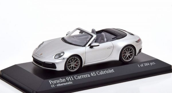 Porsche 911 Carrera 4S Cabriolet 2019 ( 992 ) Zilver 1-43 Minichamps Limited 384 Pieces