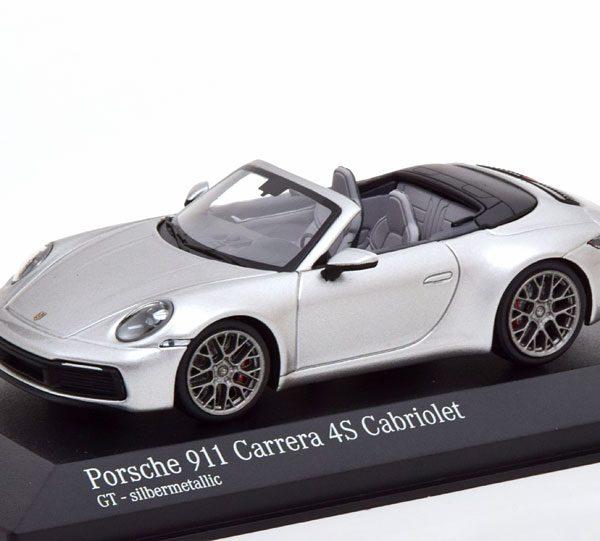 Porsche 911 Carrera 4S Cabriolet 2019 ( 992 ) Zilver 1-43 Minichamps Limited 384 Pieces
