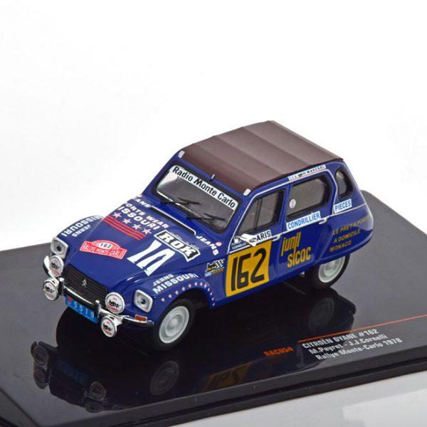 Citroen Dyane No.162, Rally Monte Carlo 1978 Peyrett/Conelli Blauw 1-43 Ixo Models
