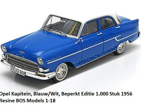 Opel Kapitän 1956 Blauw / Wit 1-18 BOS Models Limited 1000 Pieces