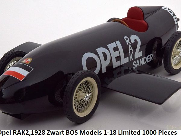 Opel RAK 2 Record Car Berlin Avus ( Fritz von Opel ) 1928 Zwart 1-18 BOS Models Limited 1000 Pieces
