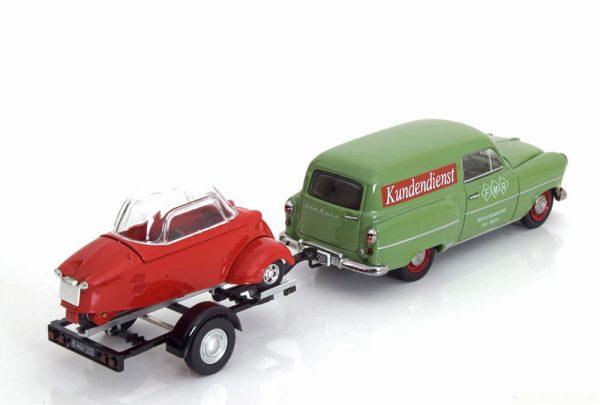 """Opel Olympia Caravan met aanhanger & Messerschmitt KR """"Messerschmitt Service"""" 1-43 Schuco Limited 1000 pcs."""