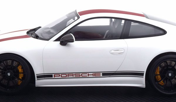 Porsche 911 R (991) Coupe 1-12 Wit ( met Vitrine ) Spark Limited 500 Pieces