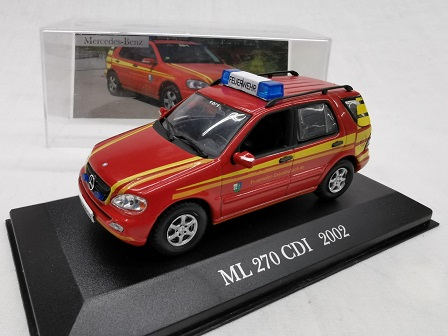 "Mercedes-Benz ML 270 CDI 2002 ( W163 )""Brandweer "" Rood 1-43 Altaya Mercedes Collection"