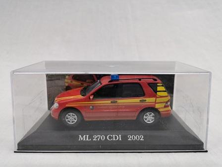 "Mercedes-Benz ML 270 CDI 2002 ( W163 )""Brandweer "" Rood 1-43 Altaya Mercedes Collection"